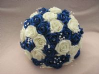 ARTIFICIAL FLOWERS ROYAL BLUE / WHITE FOAM ROSE BRIDE CRYSTAL WEDDING BOUQUET